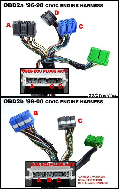 obd2.harnesscompare obd1 b series engine into obd2a obd2b civic integra * * honda 99-00 civic si wiring harness at webbmarketing.co